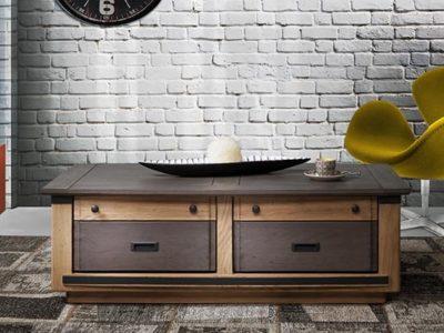 Table basse industrielle en bois personnalisable Magellan