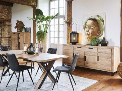 Table salle à manger industrielle extensible Hudson