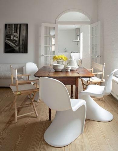 Salle à manger chaises dépareillées blanches Meubles Bouchiquet