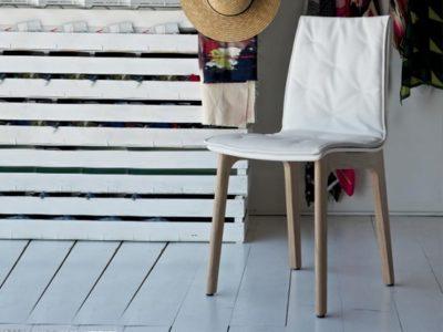 Chaise blanche design cuir Bontempi - Promo