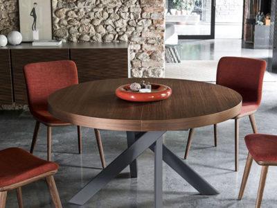 Table ronde extensible design plateau noyer Calligaris Tivoli - Promotion