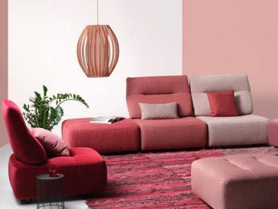 Canapé 3 chauffeuses design en tissu - Promotion
