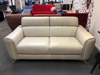 Canapé design cuir beige 2 places Natuzzi - Promotion