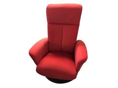 Fauteuil relax manuel pivotant en tissu rouge - Promotion
