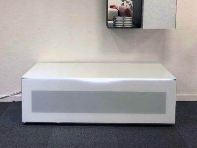Meuble TV blanc sur roulettes étagère murale colonne murale - Promotion