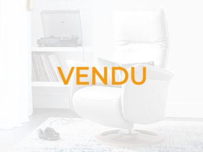 Vendu Fauteuil relax électrique design cuir blanc - Promotion