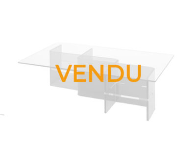 Vendu table basse verre transparent violet Promotion