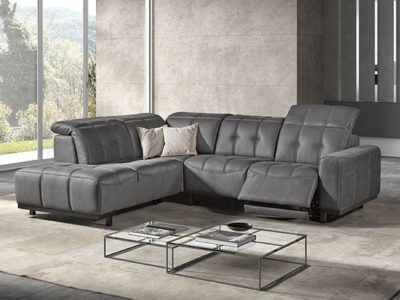 Canapé angle en microfibre relax avec tétières réglables Meubles Bouchiquet