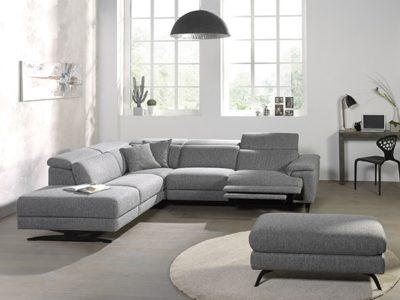 Canapé angle design relax tissu personnalisable avec têtières réglables - Meubles Bouchiquet