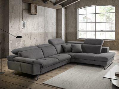 Canapé angle en tissu gris avec têtières réglables - Meubles Bouchiquet