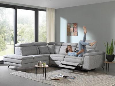 Canapé angle relax tissu gris style moderne Meubles Bouchiquet