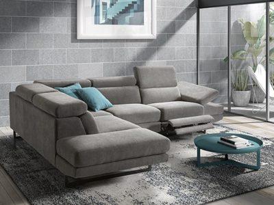 Canapé d'angle relax moderne têtières réglables - Meubles Bouchiquet