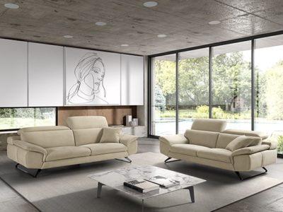 Canapé design en tissu avec têtières réglables - Meubles Bouchiquet
